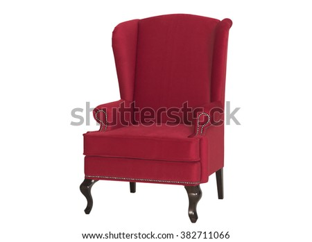 Red royal armchair, Isolated - stock photo