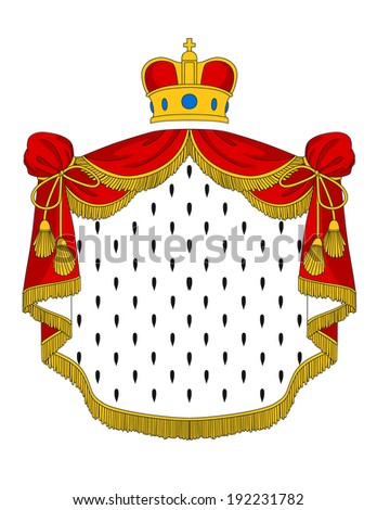 Red royal mantle with heraldic elements for luxury design. Vector version also available in gallery - stock photo