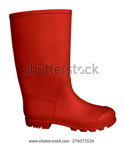 Red rubber boot isolated on white. Clipping path included. - stock photo