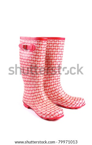 red rubber boots - stock photo