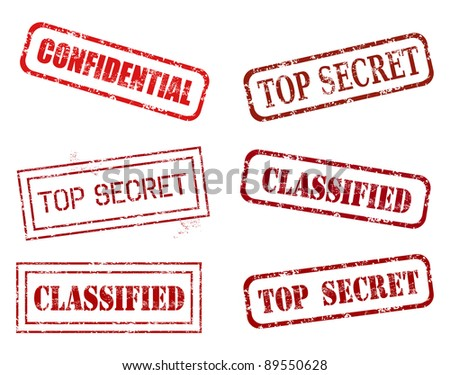 Red rubber stamp set - grungy illustration with government secrecy stamping. Confidential, secret information. - stock photo
