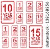 Red rubber stamp vector for warranty concept, including 1, 2, 3, 4, 5, 10 and 15 year extended warranty - stock vector