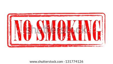 "Red rubber stamp with caption ""No smoking"" - stock photo"