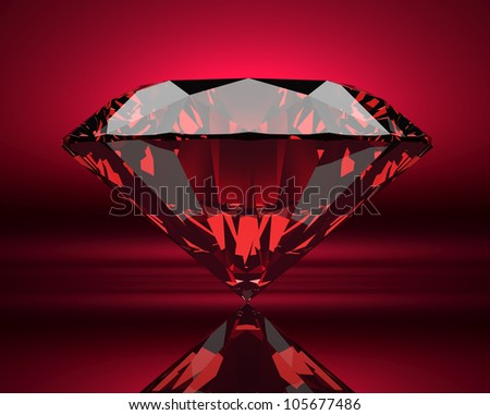Red ruby on abstract background - stock photo