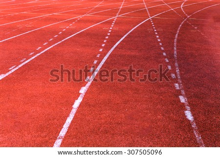 Red running track - stock photo