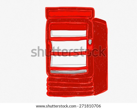 red safe drawing on white background - stock photo