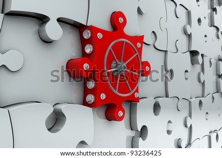 Red safe vault as a jigsaw puzzle piece - stock photo