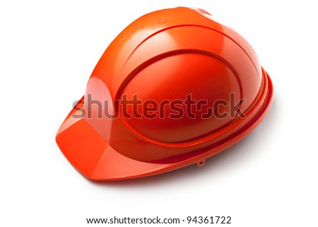 Red safety helmet on white - stock photo