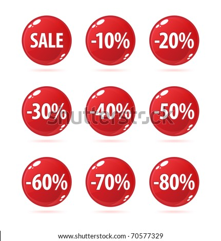 Red sale buttons with discount - stock photo