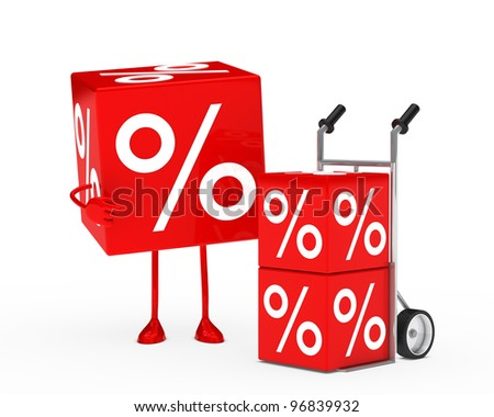 red sale cube figure next hand truck - stock photo