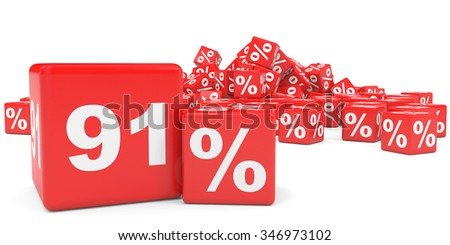 Red sale cubes. Ninety one percent discount. 3D illustration.