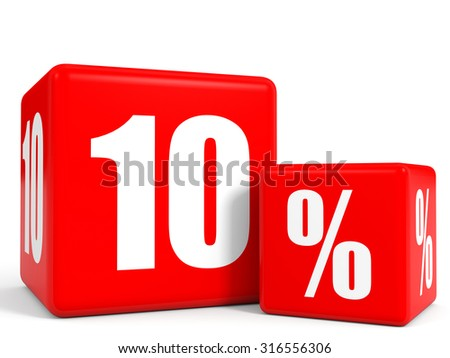 Red sale cubes. Ten percent discount. 3D illustration. - stock photo