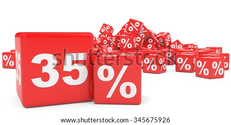 Red sale cubes. Thirty five percent discount. 3D illustration.