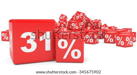Red sale cubes. Thirty one percent discount. 3D illustration.