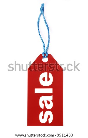 Red sale label isolated on white - stock photo