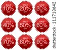 Red Sale 10 - 90 Percent OFF Discount Label Tag Isolated on White Background - stock photo