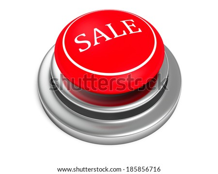 red sale push button on white background.Shopping saling concept 3d render illustration - stock photo