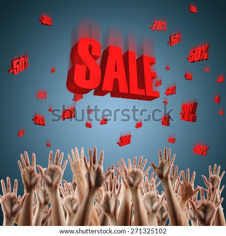 Red sale sign over blue gradient background falling prices on people's hands lifted up in the air.  3d red text SALE. Festive backdrop poster on Black Friday theme with copy space  and clipping pass. - stock photo