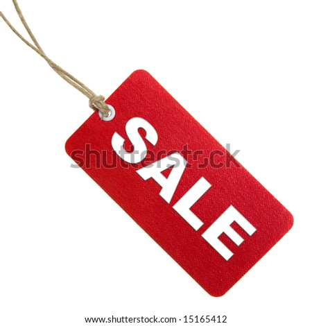 Red Sale Tag Isolated On White - stock photo