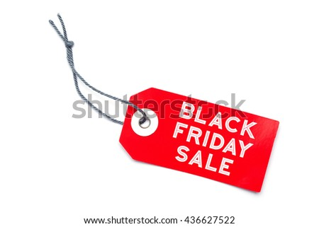 Red sales label tag with Black Friday Sale message - stock photo