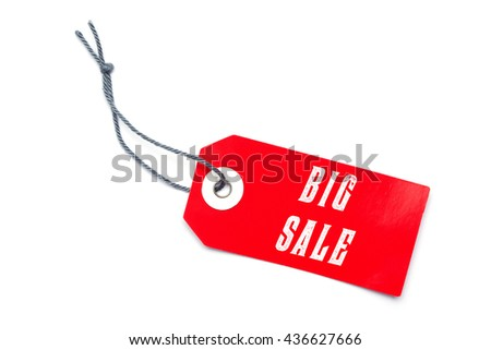 Red sales label tag with special offer message - stock photo