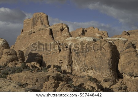 Red Sandstone Rock Formations in Arches National Park, Utah