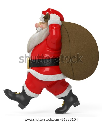 red santa cartoon carrying a sack side view