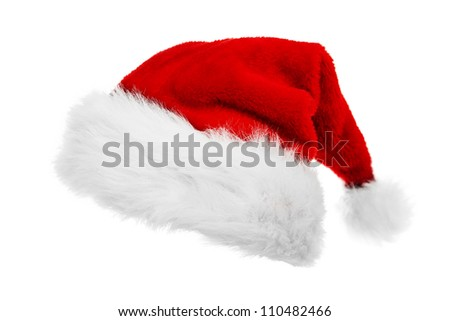 Red Santa Claus hat - stock photo