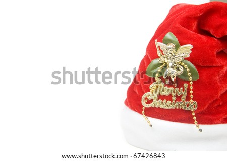 Red santa claus hat isolated with space for text - stock photo