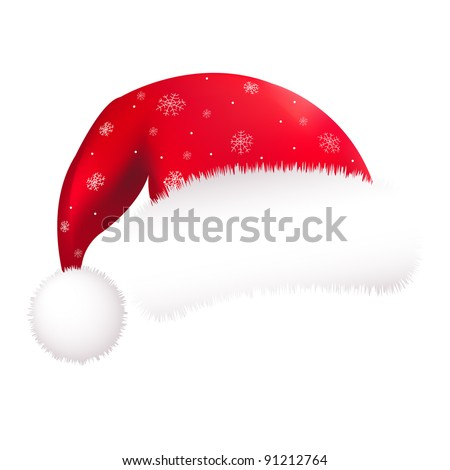 Red Santa Hat, Isolated On White Background - stock photo