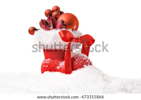 Red Santa's boot isolated on white background