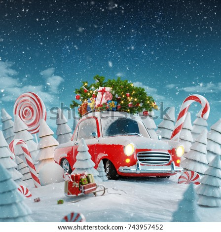 Red Santas Car With Gift Boxes And Christmas Tree On The Top In A Magical Forest