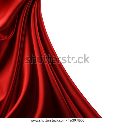 Red Satin Border.Isolated on white - stock photo