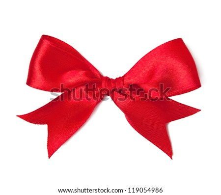 Red satin bow on white background