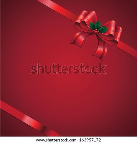 Red satin bow with mistletoe Christmas background. jpg. - stock photo
