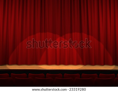 Red satin curtains on theater stage - stock photo