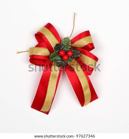 Red satin gift bow have cherry at center. Ribbon. Isolated on white