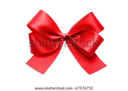 red satin gift bow isolate on white