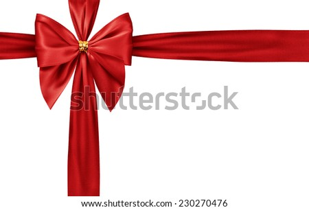 Red satin gift bow isolated on white - stock photo