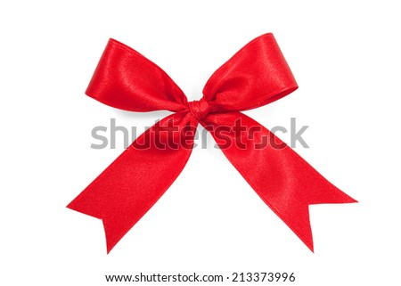 red satin gift bow ribbon isolated on pure white