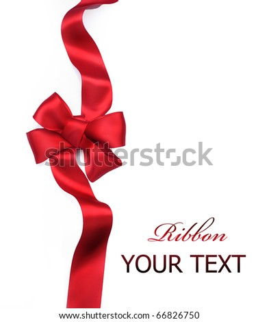 Red satin gift bow. Ribbon. Isolated on white - stock photo