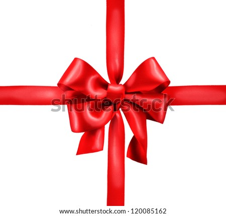 Red Satin Gift Bow. Ribbon. Isolated on white. Christmas Holiday background - stock photo