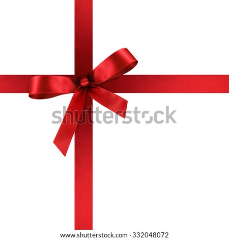 Red Satin Gift Ribbon with Decorative Bow - Ornate Textile Decor - Isolated on White Background - For Christmas and Easter Season - Valentine and Mothers Day - stock photo