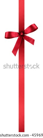 Red Satin Gift Ribbon with Decorative Bow - Vertical Banner Illustration Isolated on White Background - stock photo