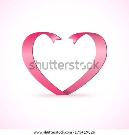 Red satin glossy ribbon heart. Valentine's Day template - stock photo
