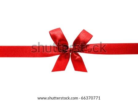 red satin ribbon - stock photo