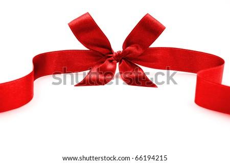 red satin ribbon on white - stock photo