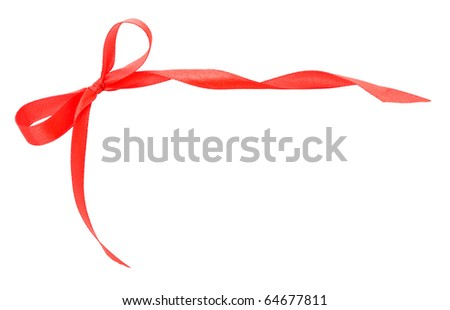 red satin ribbon on white background - stock photo