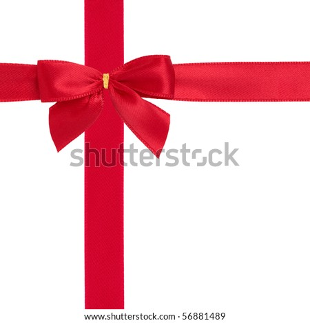 Red satin ribbon with bow isolated over white background. - stock photo
