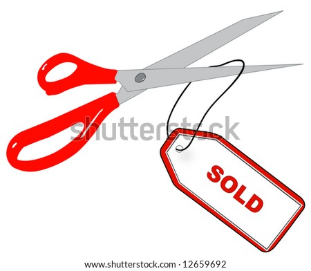 red scissors cutting tag that says sold